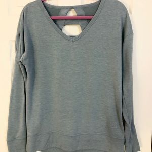 Light Blue Pullover with Cutout Back
